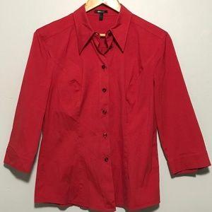 Escada Red Button Down Shirt Blouse